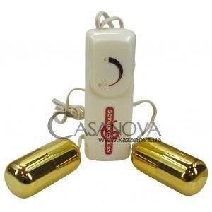 Двойное виброяйцо Double Bullet золотистое